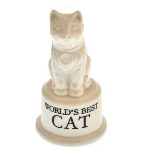"""World's Best Cat Trophy -  Ceramic Cat 5"""" / 12.7 cm Thumbnail 1"""