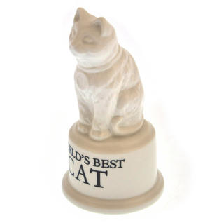 "World's Best Cat Trophy -  Ceramic Cat 5"" / 12.7 cm Thumbnail 4"