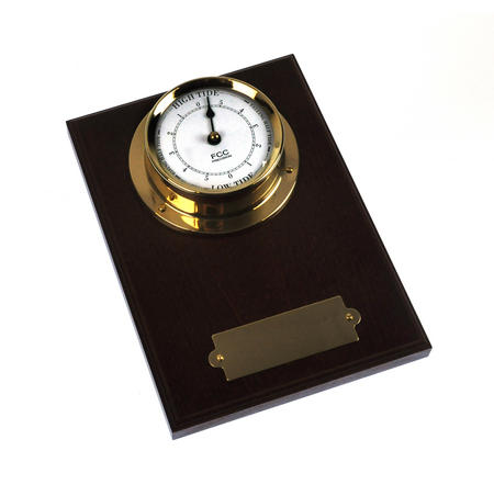 Spun Brass Bulkhead Tide Clock 110mm Mounted on Solid Wood with Brass Plate -1506TD/1