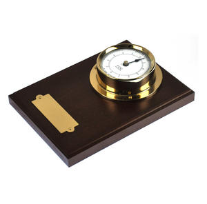 Spun Brass Bulkhead Tide Clock 110mm Mounted on Solid Wood with Brass Plate -1506TD/1 Thumbnail 3