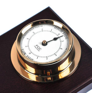Spun Brass Bulkhead Tide Clock 110mm Mounted on Solid Wood with Brass Plate -1506TD/1 Thumbnail 4
