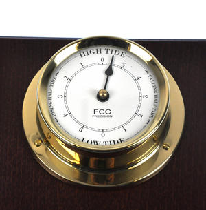 Spun Brass Bulkhead Tide Clock 110mm Mounted on Solid Wood with Brass Plate -1506TD/1 Thumbnail 5