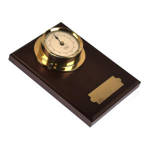 Spun Brass Bulkhead Tide Clock 110mm Mounted on Solid Wood with Brass Plate -1506TD/1 Thumbnail 6