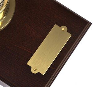 Spun Brass Bulkhead Tide Clock 110mm Mounted on Solid Wood with Brass Plate -1506TD/1 Thumbnail 7