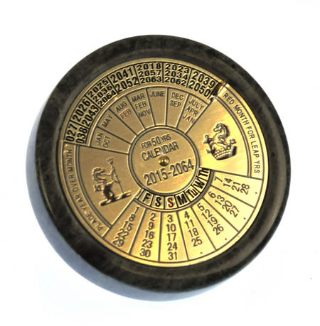 Brass 50 Year Calendar Marble Based Paperweight