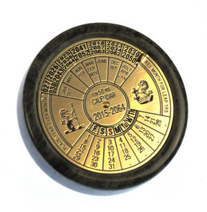 Brass 50 Year Calendar Marble Based Paperweight Thumbnail 1