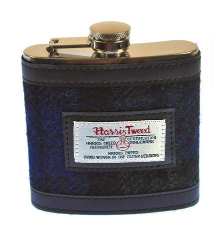 Blue Harris Tweed Blackwatch Hip Flask