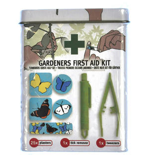 Gardeners First Aid Kit with Tick Remover, tweezers and  25 Plasters / Band Aids