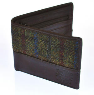 Red & Green Harris Tweed Wallet with Coin Purse