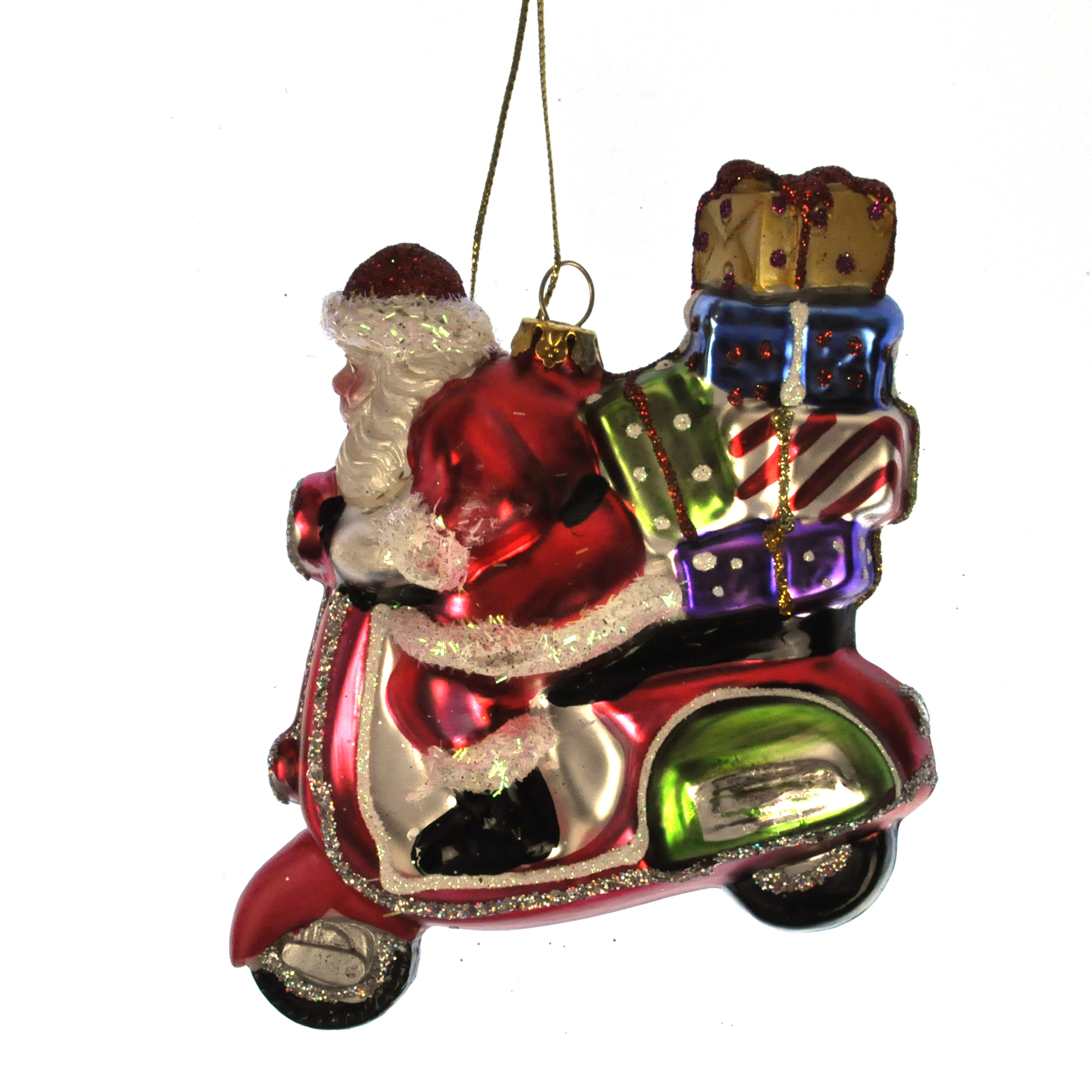 Painted santa on a vespa scooter christmas tree decoration for Vespa decoration