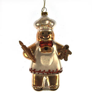 Glass Gingerbread Man Chef Christmas Tree Decoration (14cm)