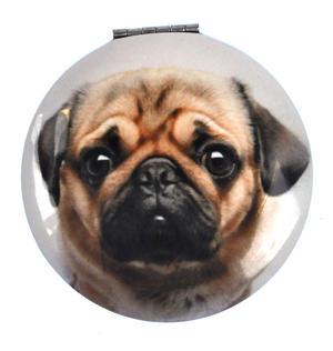 Pug Head - Circular Compact Handbag Mirror