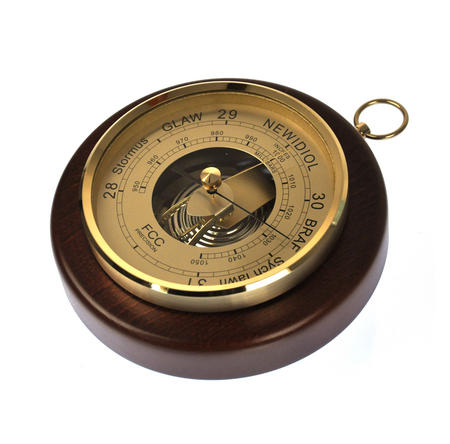 Welsh Language 170mm Barometer Gold / Mahogany Finish Round  - WL 1024