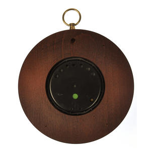 Welsh Language 170mm Barometer Gold / Mahogany Finish Round  - WL 1024 Thumbnail 4