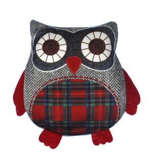 Owl Cherry Pit Pillow - Random Tartan or Floral - Microwavable Thumbnail 1