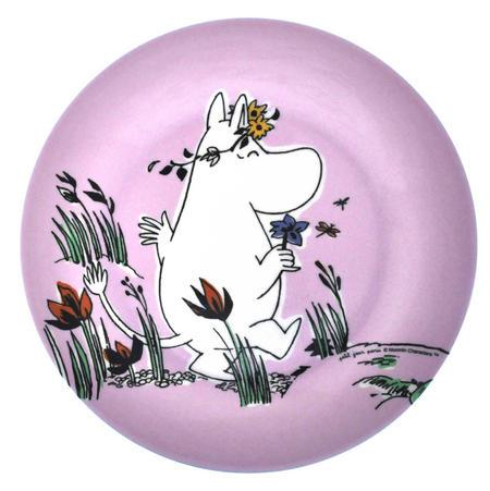 Moomin Pink Dessert Plate - Flowers