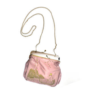 Moomin Papa - Pink Satin Embroidered Small Bag  / Cross Body Bag