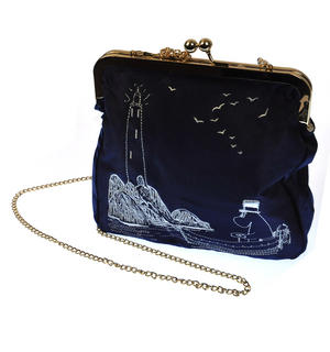 Moomin Papa - Blue Satin Embroidered Small Bag  / Cross Body Bag