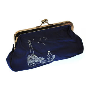 Moomin Papa - Blue Satin Embroidered Envelope Clutch