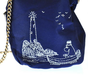 Moomin Papa - Blue Satin Embroidered Small Purse  / Cross Body Bag