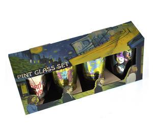 Beatles Metallic Pint Glass Set- 4 Classic Art Psychedelic Glasses Thumbnail 5
