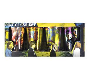 Beatles Metallic Pint Glass Set- 4 Classic Art Psychedelic Glasses Thumbnail 6