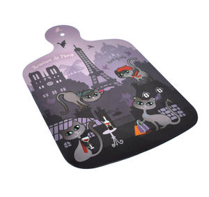 "Paris Cats Chopping Board - Melamine 34cm / 8.5"" X 13"" Thumbnail 1"