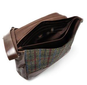 Harris Tweed Green British Briefcase Cross Body Bag