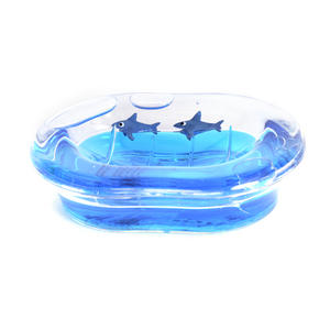 Sharks Soap Dish - Blue Liquid in Transparent Acrylic