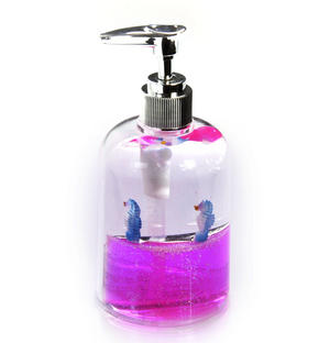 Seahorses Soap Pump Dispenser - Pink Liquid in Transparent Acrylic with Snow