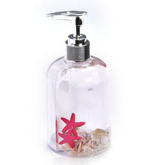 Seashore & Starfish Soap Pump Dispenser - Clear Liquid in Transparent Acrylic