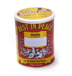 Modest Urn - Rest in Peace Coffee Can - Modestly Priced Ashes Receptacle