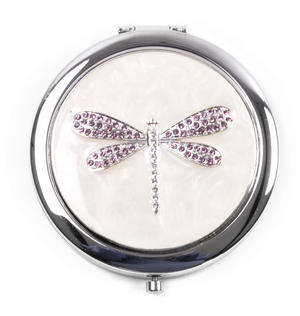 Lilac Crystal Dragonfly Jewelled Sophia Silverplated Compact Mirror
