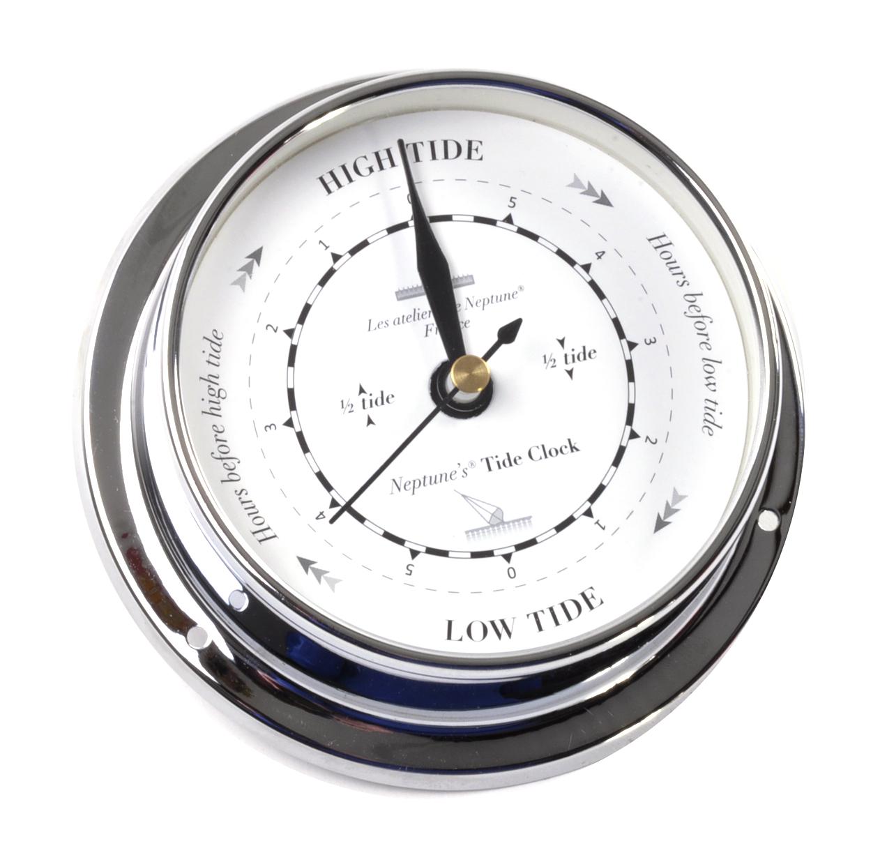classic black on white dial chromed tide clock 115mm tide clock tc d ch - Tide Clock