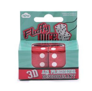 Fluffy Dice Air Freshener - 2 x 3D Furry Dice Thumbnail 1
