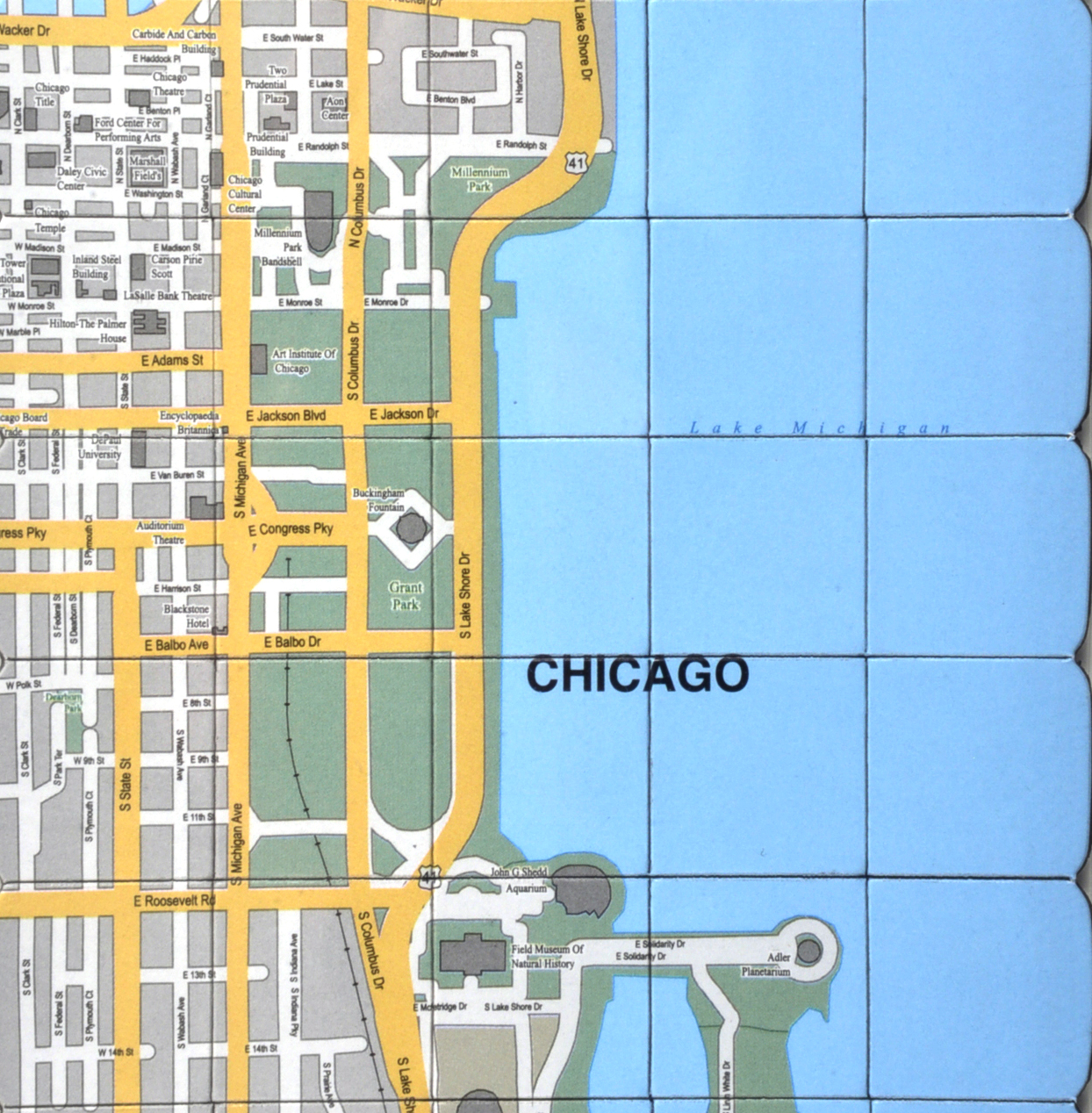 Chicago City Map Fridge Magnet Puzzle Learn The City Map - Chicago map puzzle