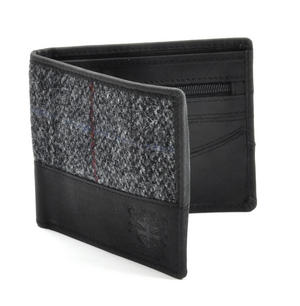 Harris Tweed Fronted Leather Grey Wallet with Embossed British Crest Logo