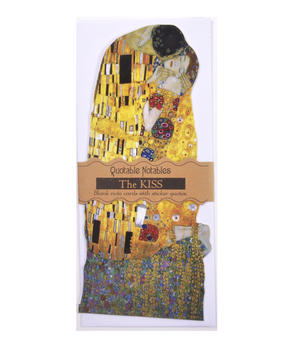 Gustav Klimt The Kiss Quotable Notable - Greeting Card With Sticker Quotes Thumbnail 1