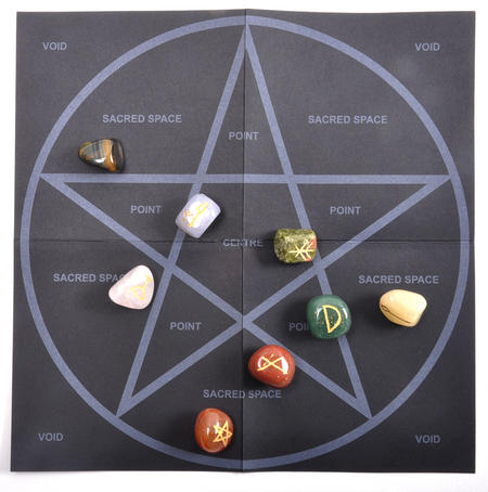 Witch Stones Runes Set with Pagan Gemstones featuring Futhark Runic Symbols