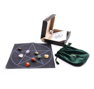 Witch Stones Runes Set with Pagan Gemstones featuring Futhark Runic Symbols Thumbnail 6