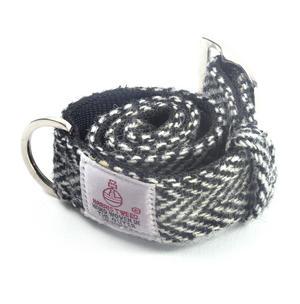 Medium Black & White Harris Tweed Dog Collar