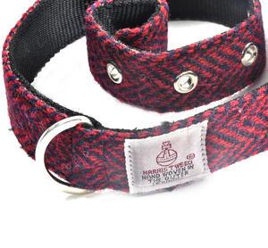 Large Red Harris Tweed Dog Collar