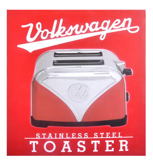 Red Volkswagen Camper Stainless Steel Toaster Thumbnail 3