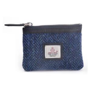 Blue Herringbone Harris Tweed Zip top Coin Purse by Cloudberry
