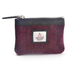 Red Herringbone Harris Tweed Zip top Coin Purse by Cloudberry