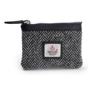 Black & White Herringbone Harris Tweed Zip top Coin Purse by Cloudberry