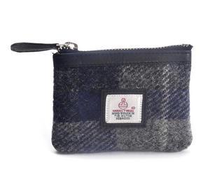 Grey / Blue & White Stripe Harris Tweed Check Coin Purse by Cloudberry