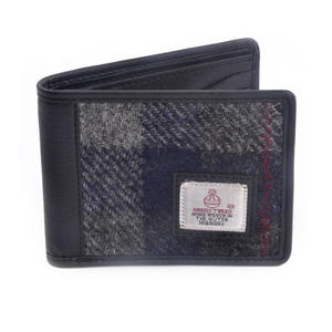 Grey / Blue & Red Stripe Harris Tweed Check Bi-Fold Wallet with Coin Purse by Cloudberry