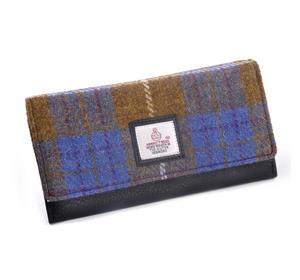 Tan & Teal Harris Tweed Check Ladies Envelope Purse by Cloudberry
