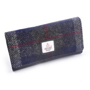 Grey / Blue & Red Harris Tweed Check Ladies Envelope Purse by Cloudberry